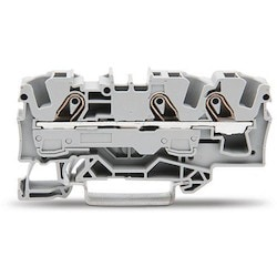 3-conductor Through Terminal Block; 6 mm2; Suitable For Ex E II Applications; Side And Center Marking; For Din-rail 35 X 15 And 35 X 7.5; Push-in CAGE CLAMP