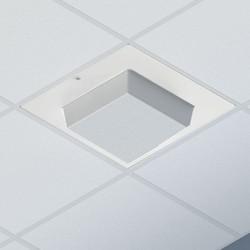 Locking 2U Suspended Ceiling Zone Enclosure, 4 In. Deep Back Box, White Plastic Dome Door