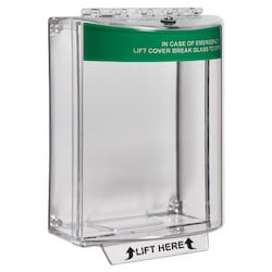 Universal Stopper, Dome Cover, Surface Mount, Label Hood without Sounder, Green Emergency Exit Label