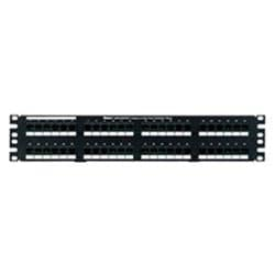 2 RU Patch Panel, Flat, 48-Port, Category 5e, (48) RJ45 Connectors Wired to (4) RJ21 Telco Connectors, Black