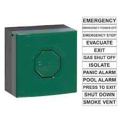 Waterproof Push Buttons, Green, Push Button Momentary, Double Pole Changeover