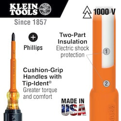 Insulated Screwdriver, #3 Phillips, 7-Inch Shank