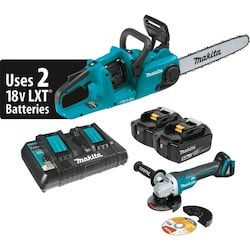 "18V X2 (36V) LXT Lithium-Ion Brushless Cordless 14"" Chain Saw Kit, dual port charger (5.0Ah) and Brushless Angle Grinder"