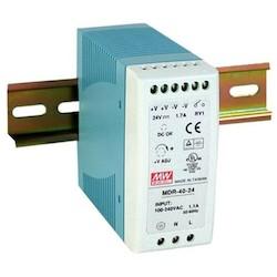 Power Supply, 85 to 264 Volt AC 47 to 63 Hertz 1.1 Ampere Input, 24 to 30 Volt DC 1.7 Ampere Output, 40.8 Watt, 40 MM Width x 100 MM Depth x 90 MM Height, DIN-Rail Mount, Plastic