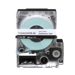 """MP Cassette, Continuous Tape, Vinyl, .50"""" W x 25' L, Black on White"""