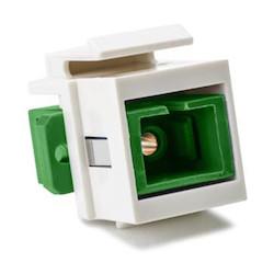 SC Singlemode Fiber Insert, Green, Office White, 1/pkg