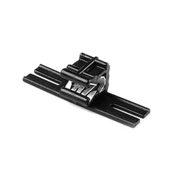 """Edge Clip and Tape Clip, Panel Thickness 0.04"""" - 0.12"""", 1.6"""" Long, PA66HIRHS, Black, 500/pkg"""