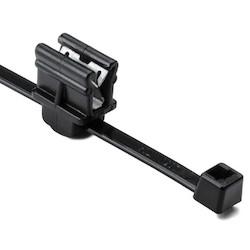 """2-Piece Cable Tie & Edge Clip, 8.0"""" Long, EC9, 1-3 mm Panel, 50lb, PA66HS/PA66HIRHSUV, Black, 500/pkg"""