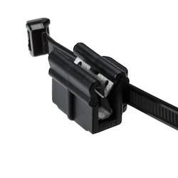 """Outside Serrated Cable Tie & Edge Clip, 8.0"""" Long, EC22, 1-3 mm Panel, 50lb, PA66HS, Black, 500/pkg"""