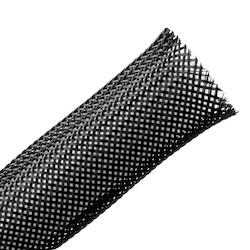 "Braided Sleeving, Expandable, .75"" Dia, PA66 Monofilament, Black, 250 ft/bulk reel"