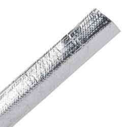 "Braided Sleeving, Aluminum Laminated Fiberglass, .38"" Dia, AL/GF, Silver, 100 ft/reel"