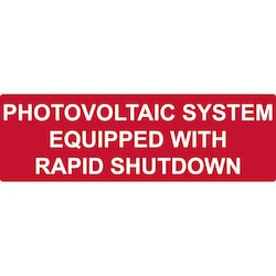 "Solar Label, Reflective, PHOTOVOLTAIC SYSTEM...RAPID SHUTDOWN, 5.5"" x 1.75"", Red, 50/pkg"