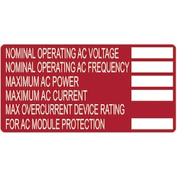 """Solar Label, Printable, AC MODULE, 4.0"""" x 2.0"""", PET, Red, 50/roll"""