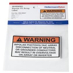 """Solar Label, WARNING BIPOLAR PV ARRAY, 3.75"""" x 2.0"""", VL, Orange, 10/pkg"""