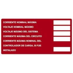 "Solar Label, Printable, Spanish, DC Module, 4.0"" x 2.0"", PET, Red, 50/roll"