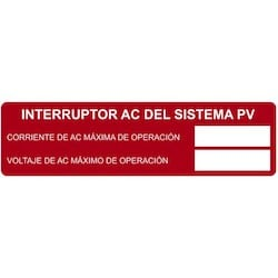 """Solar Label, Printable, Spanish, PHOTOVOLTAIC AC DISCONNECT, 3.75"""" x 1.0"""", PET, Red, 50/roll"""