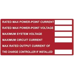 """Solar Label, Printable, DC Module, 4.0"""" x 2.0"""", PET, Red, 10/pkg"""