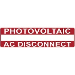 "Solar Label, Printable, 2017 Code, PHOTOVOLTAIC AC DISCONNECT, 3.75"" x 1.0"", PET, Red, 10/pkg"