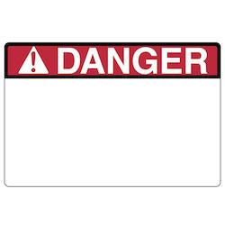 "Pre-Printed Header Label, DANGER, 6.0"" x 4.0"", PET, Red, 250/roll"