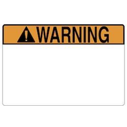 "Pre-Printed Header Label, WARNING, 3.0"" x 2.0"", PET, Orange, 250/roll"