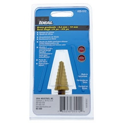 """Step Drill Bit, Double Fluted, 9-Hole, 1/16"""" Increment, 3/8"""" Diameter x 1"""" Length Shank, 1/4 to 3/4"""" Drill Diameter"""