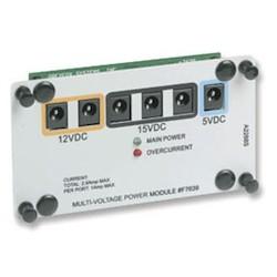 "Power Distribution Module, Multi-Voltage, 15 Volt DC 3-Location/12 Volt DC 2-Location/5 Volt DC 1-Location, With (6) 24"" Power Cord Jumper and Single Bay Bracket"