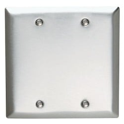 Wallplate, Blank, Standard, 2-Gang, Box Mount, 302/304 Brushed Stainless Steel