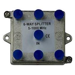"Coax Splitter, 6-Way, Low Voltage, 6-Port, Vertical, 1 Gigahertz, 3.43"" Width x 1.13"" Depth x 2.39"" Height, Nickel Plated with Tin Sealed"