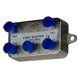 "Coax Splitter, 4-Way, Low Voltage, 4-Port, Vertical, 2 Gigahertz, 2.91"" Width x 1.22"" Depth x 1.62"" Height, Nickel Plated with Tin Sealed"