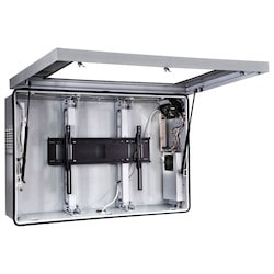 """Indoor/Outdoor Protective Enclosure, Security Hardware, 51.41"""" x 11.68"""" x 33.8"""", Steel, Powder Coated, Stone Gray, Includes Cooling Fan and Thermostat Controlled Heater"""