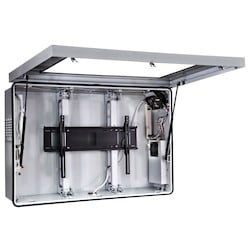 """Indoor/Outdoor Protective Enclosure, Security Hardware, 62.74"""" x 11.68"""" x 40.18"""", Steel, Powder Coated, Stone Gray, Includes Cooling Fan"""