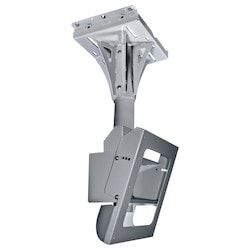 """Indoor/Outdoor Tilting Concrete Ceiling Mount, Security Hardware, 4' Pole, 18.79"""" Width x 18"""" Depth x 77"""" Height, Gloss Powder Painted, Stone Gray, For Protective Enclosure"""