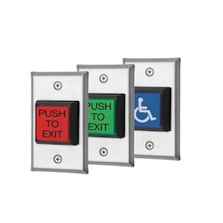 "Single gang LED Illuminated button, Includes 3 lenses: Red/Green - ""push to Exit"":Blue-Handicap logo, 12/24VDC with both SPDT and DPDT switches included"