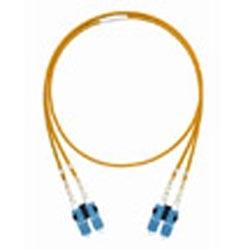 LazrSPEED 550 LC to SC Fiber Patch Cord, 1.6 mm Duplex, Riser, Aqua Jacket, 20 Feet