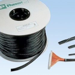 "Braided Expandable Sleeving, 0.38"" diameter (9.5mm), provides continuous abrasion resistance for wires, cables and tubing. The highly flexible open weave will not trap heat or humidity, gray, Polyethylene Terephthalate, 1000 ft. per reel."