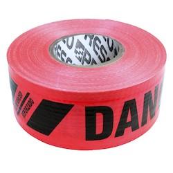 """Red 7Mil 3""""X500'  Danger/Peligro Reinforced Tape"""