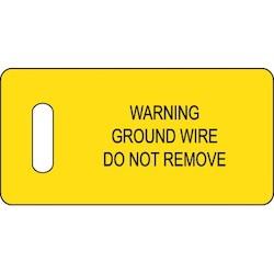 "Ground Warning Tag, 2.75""x1.38"" with slot, 'Warning?', 100 tags/pk, Black/Yellow"