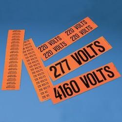 """Voltage Marker, Vinyl, Black/Orange, 4.50"""" x 1.13"""", '208 Volts', pack of 5"""