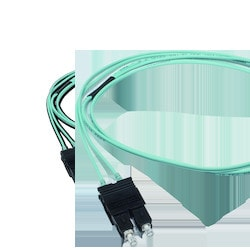 SC Duplex to SC Duplex Patch Cord, 2 F, Zipcord Tight-Buffered Cable, LSZH, 2.8 mm Legs 50 um ClearCurve Multimode (OM3), 1 m