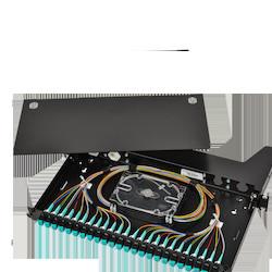 LANscape Fiber Housing front panel loaded with SC UPC adapters (Breakout version), 24 Fibers, 1U, SMF-28 Ultra fiber, Black