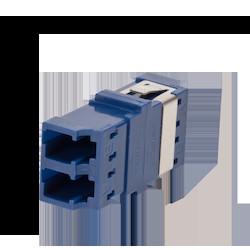Fiber Optic Adapter, LC Duplex, Non Keyed/Non KeyedReduced-Flange Mount, Ceramic Sleeve, (OM4+/OM4/OM3/OM2/OM1/OS2), blue
