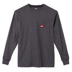 Heavy Duty Pocket T-Shirt - Long Sleeve - Gray 3X