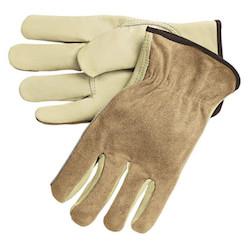 Premium-Grade Leather Driving Gloves, Shoulder Split Cowhide, Medium, Unlined
