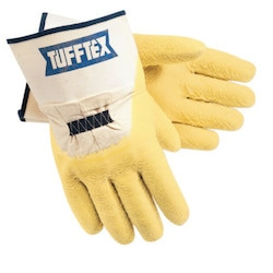 Tufftex Supported Gloves, Large, Yellow, Rubberized Safety Cuff