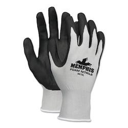 Foam Nitrile Gloves, Small, Black/Gray