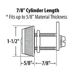 "Combination Cam Lock, Resettable, Medium, #3, 7/8"" Cylinder Length, Chrome Plated"