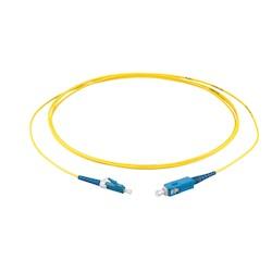 OS2 Fiber Optic Cable, Simplex, 1-F, FRNC, LC To SC, 2.0mm Diameter, 2 Meters