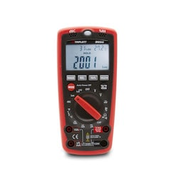 50 measurement ranges include AC/DC Voltage, AC/DC Current, Resistance, Frequency, Capacitance, NCV Detector, Continuity, Diode, Temperature, Humidity, Light, Sound. CAT IV. Includes test leads, alligator clips, Temp probe & 9V battery