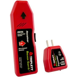 Circuit breaker locator designed for high accuracy results. Fully automatic with no adjustment necessary. The remote does not require a battery, the main unit is powered by a 9 volt battery (not included) for long life and reliability.