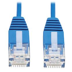 Cat6a 10G Certified Molded Ultra-Slim UTP Ethernet Cable (RJ45 M/M), Blue, 1 ft. (0.31 m)